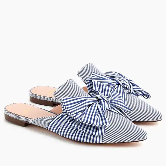 J.Crew Pointed Toe Mule Blue Whilte Stripe Bow NEW With BOX CHOOSE SIZE Women